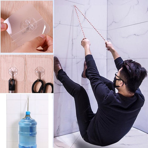 (8 Pack) Transparent Super Suction Wall Hooks
