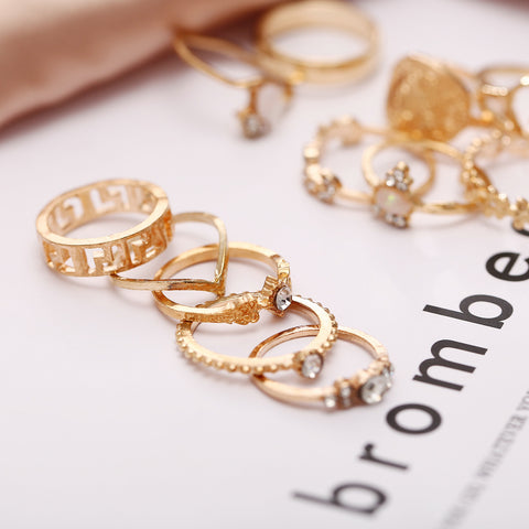 15 Pcs/set Vintage Women Hearts Fatima Hands Cross Crown Fashion Ring
