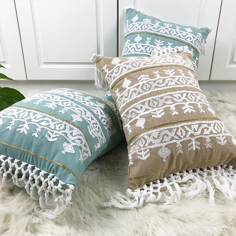 Linen Embroidery Cushion Cover Grey Blue Khaki Ethical Floral Pillow Case with Tassels For Sofa
