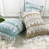 Image of Linen Embroidery Cushion Cover Grey Blue Khaki Ethical Floral Pillow Case with Tassels For Sofa