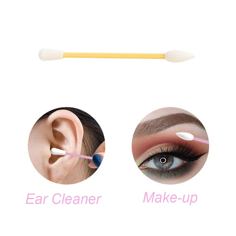2Pcs Reusable Cotton Swab Ear Cleaning Cosmetic Silicone Buds