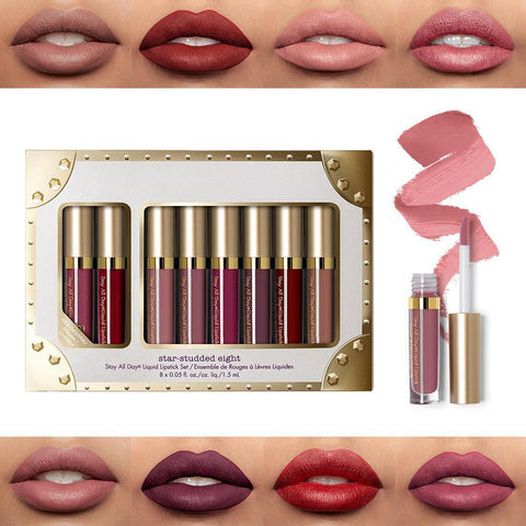 8Pcs Professional Lip Glaze Gloss Waterproof Makeup Matte Non-sticky Lipstick