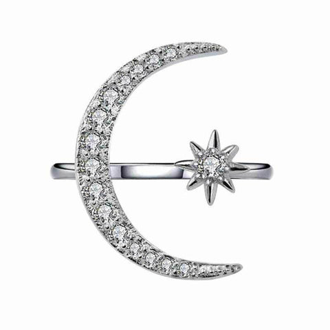 Moon Star Open Finger Rings for Women Adjustable