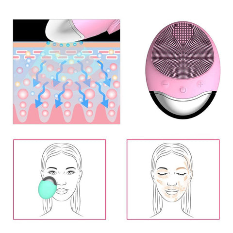 Wireless Silicone Facial Cleansing Massage Brush