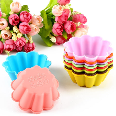 12-Pack Flower Reusable Non-stick Silicone Baking Cups