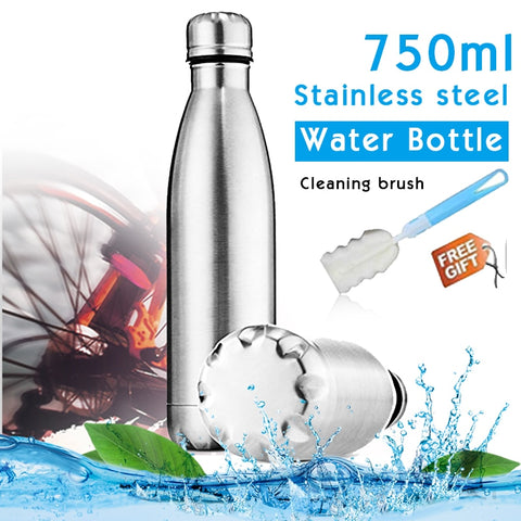 750ml Sports Wall Water Bottle Simple Non Insulated Stainless Steel