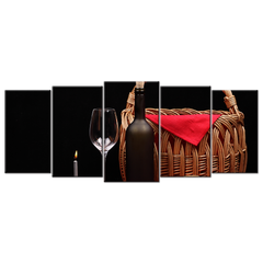 Wine Glass Fruit Flowers Bread And Basket - 5 panels XL