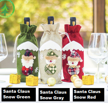 Santa Claus Wine Bottle Cover Merry Christmas Decorations for Home