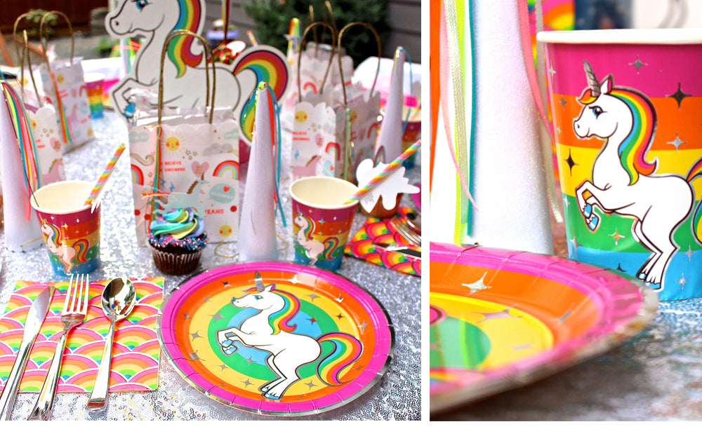 Silver Lining Rainbow Unicorn Place Setting Plates Cups Napkins