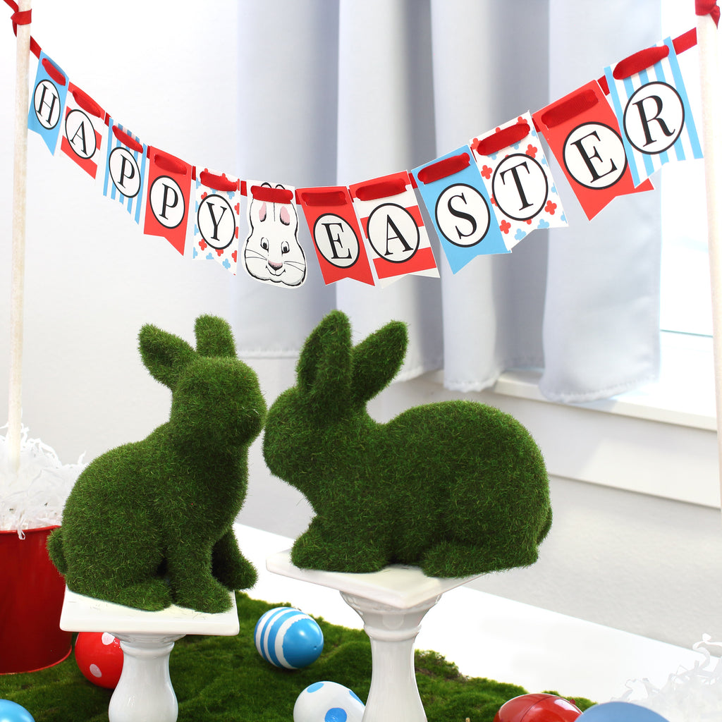 Printable Easter Banner Table top red white blue green moss bunnies party