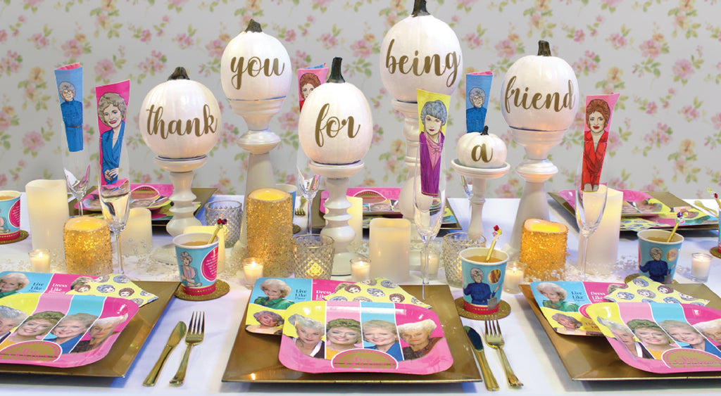 Golden Girls Friendsgiving thanksgiving place setting white pumpkins party supplies
