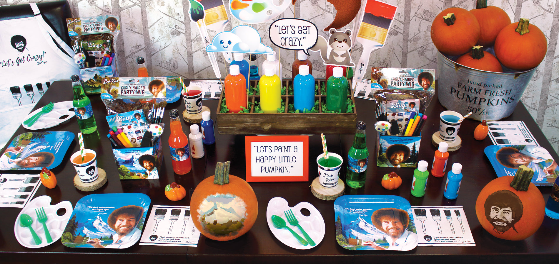 Bob Ross Bobtober party table image