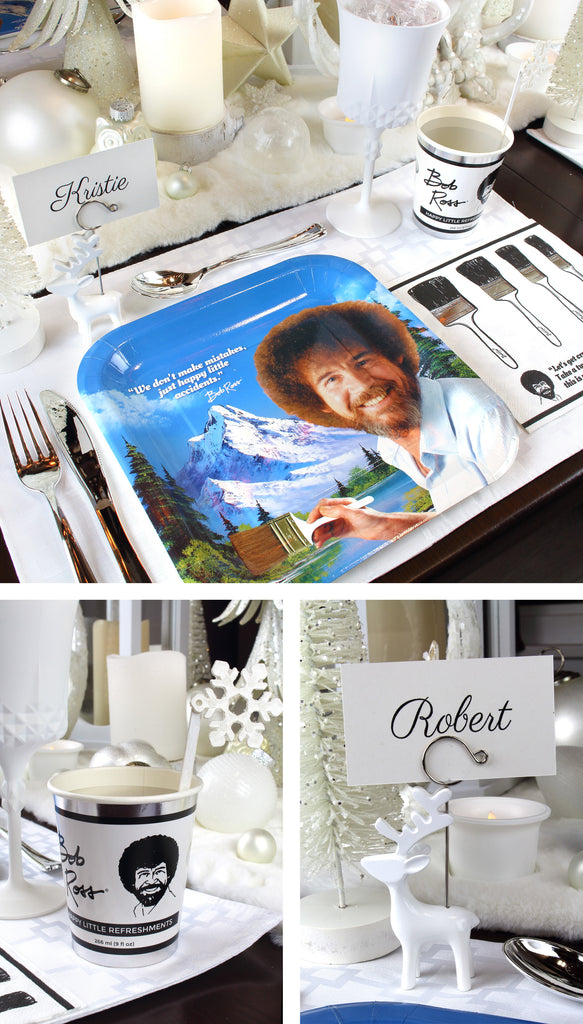 Bob Ross Titanium White Christmas place Setting plates Cups and Deer Place card holders