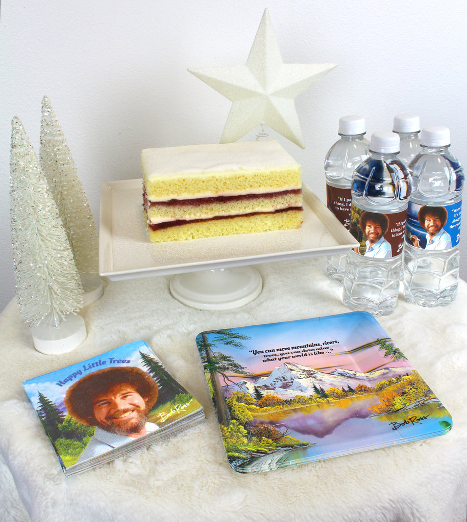 Bob Ross Titanium Christmas Food Table Plates Napkins Water Bottle labels