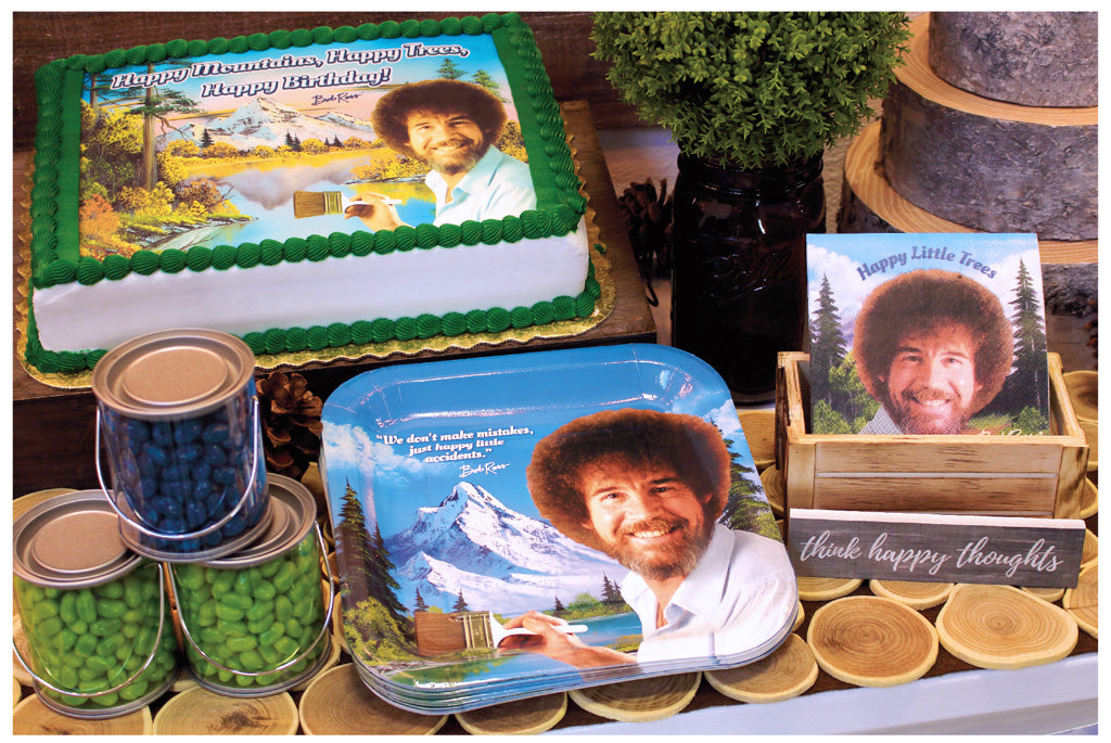 Bob Ross Edible Cake Sheet Dinner plates and beverage napkins