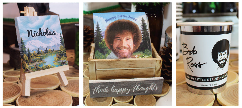 Bob Ross Party Napkins paper cups that look like paint cans and little art easels
