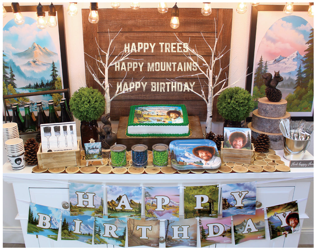 Bob Ross Party Supplies Happy Trees Happy Mountains quotes on all the items