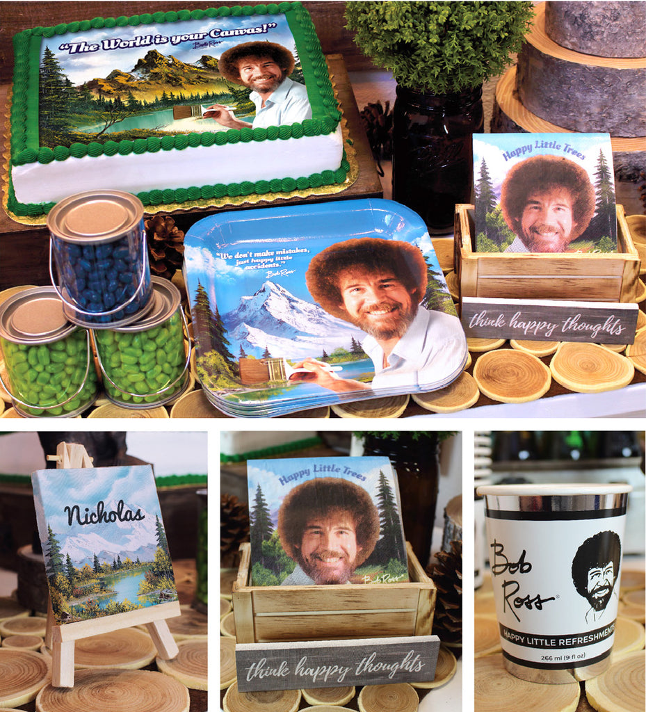 Bob Ross Graduation Party items with plates cups and cake sheet