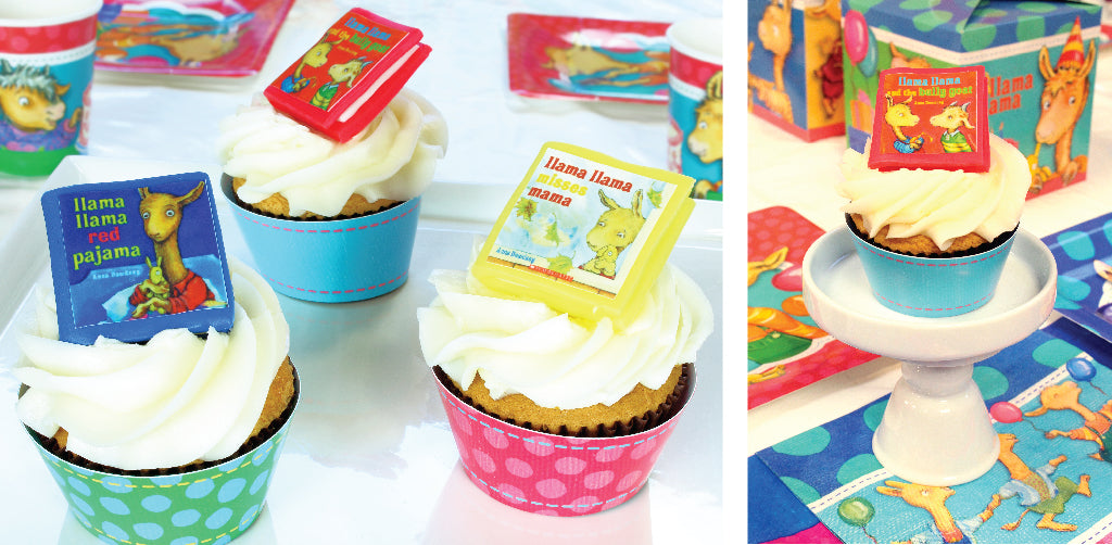 3 cupcakes with colorful, edible Llama Llama book cupcake toppers