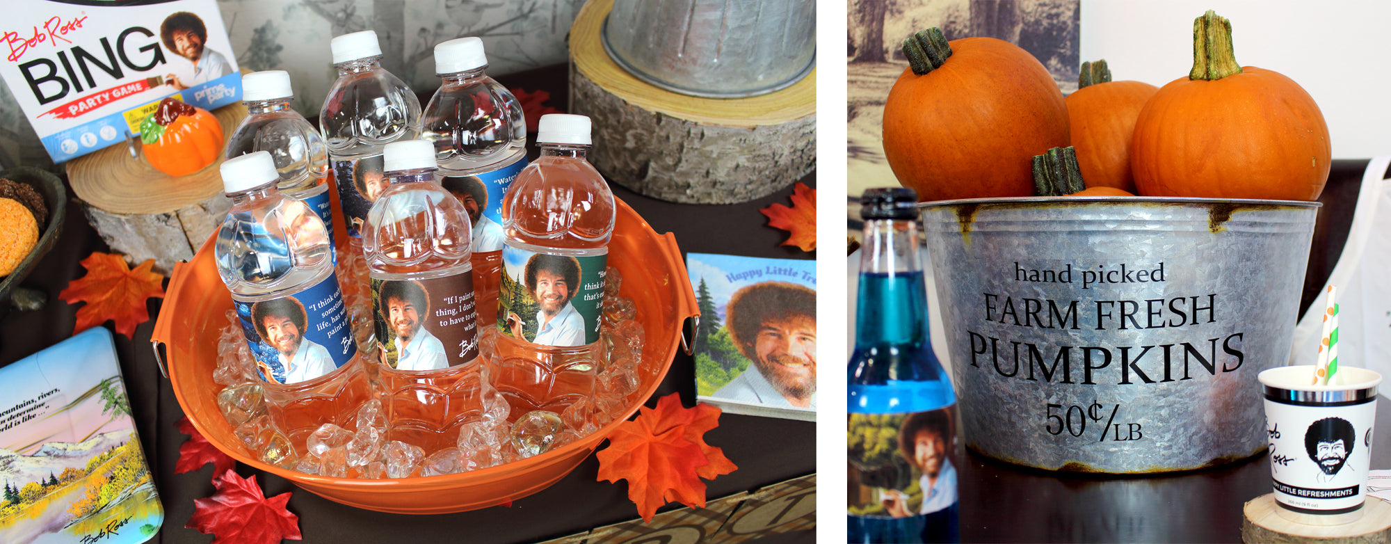 Bob Ross Water Bottle Labels and Pumpkins for painting