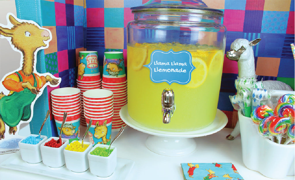 Llama Llama party treat table featuring Llama Llemonade