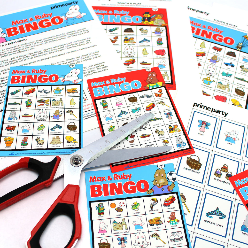 max and Ruby Downloadable printable Bingo Game for up to 40 players