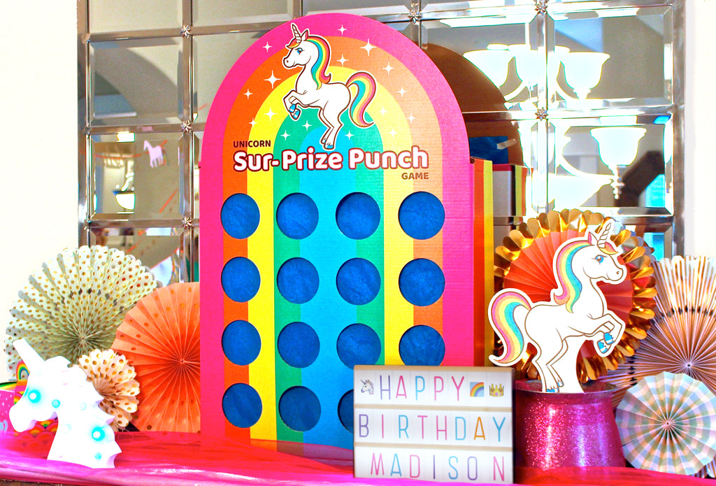 Silver Lining Rainbow Unicorn Sur-Prize Punch Party Game