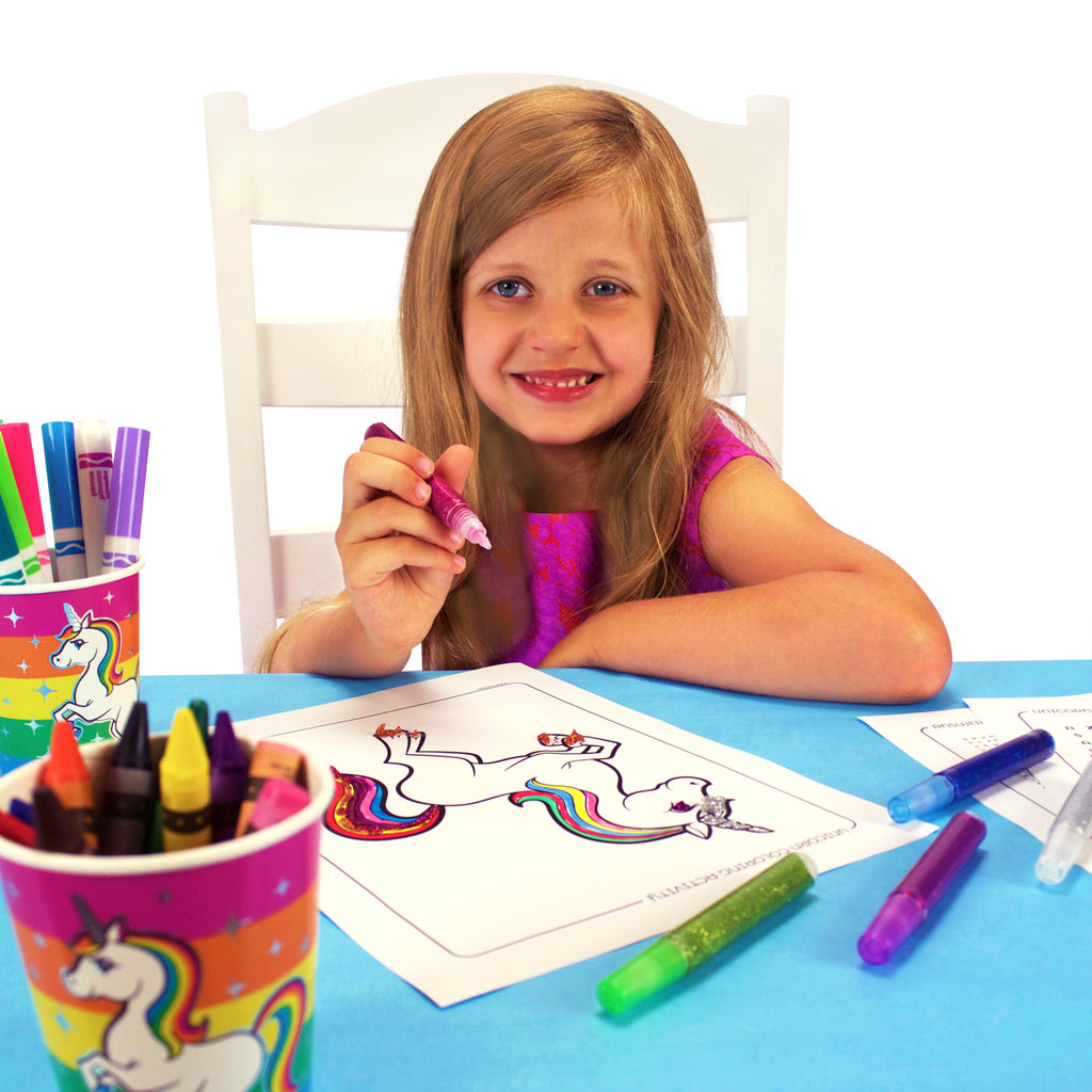 Silver Lining Rainbow Unicorn Coloring pages and Activity Sheets colored by little girl