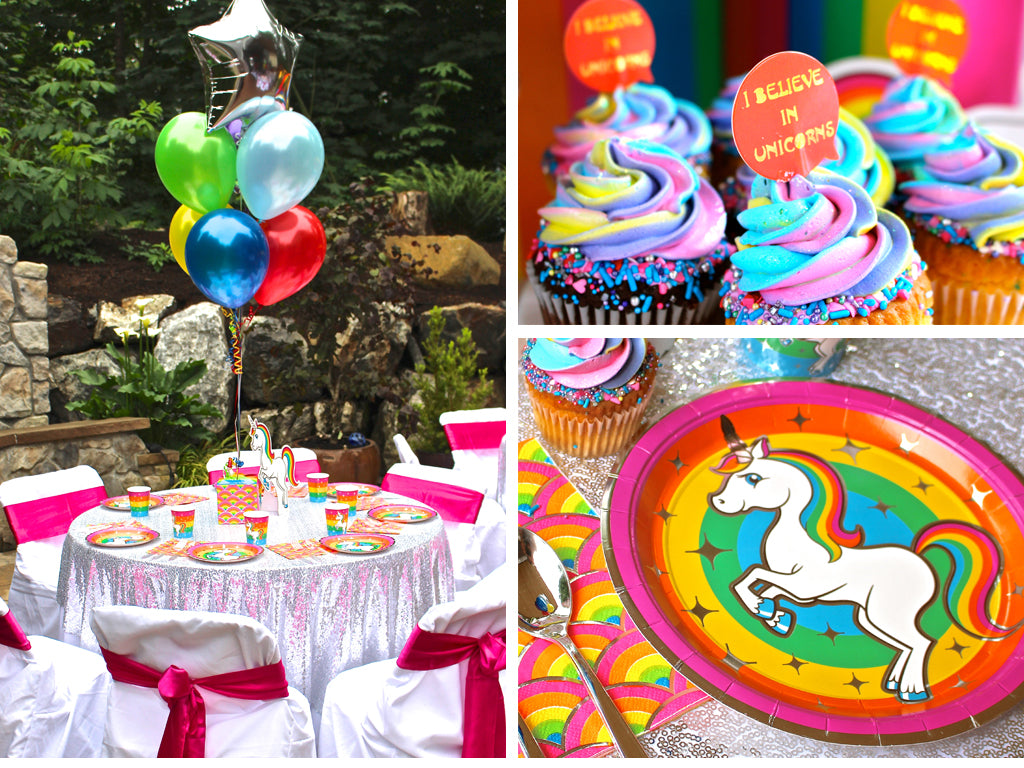 Silver Lining Rainbow Unicorn table set up plates, cupcakes, napkins, balloons