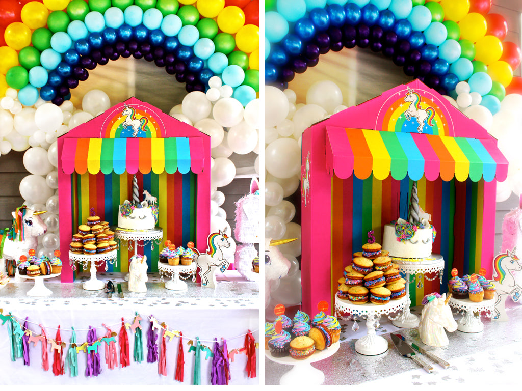 Silver Lining Rainbow Unicorn Treat Tower and Rainbow Balloon arch