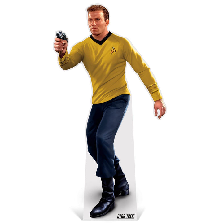 Advanced Graphics Standee Captain Kirk with Phaser Life-Size Cardboard | Star Trek Cutout Captain Kirk with Taser Life-Size Cardboard Cutout | Prime Party 1080STK2