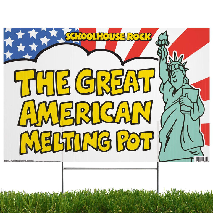 Advanced Graphics Yard Sign The Great American Melting Pot | Yard Sign with Lawn Stakes, Schoolhouse Rock 1090YS3