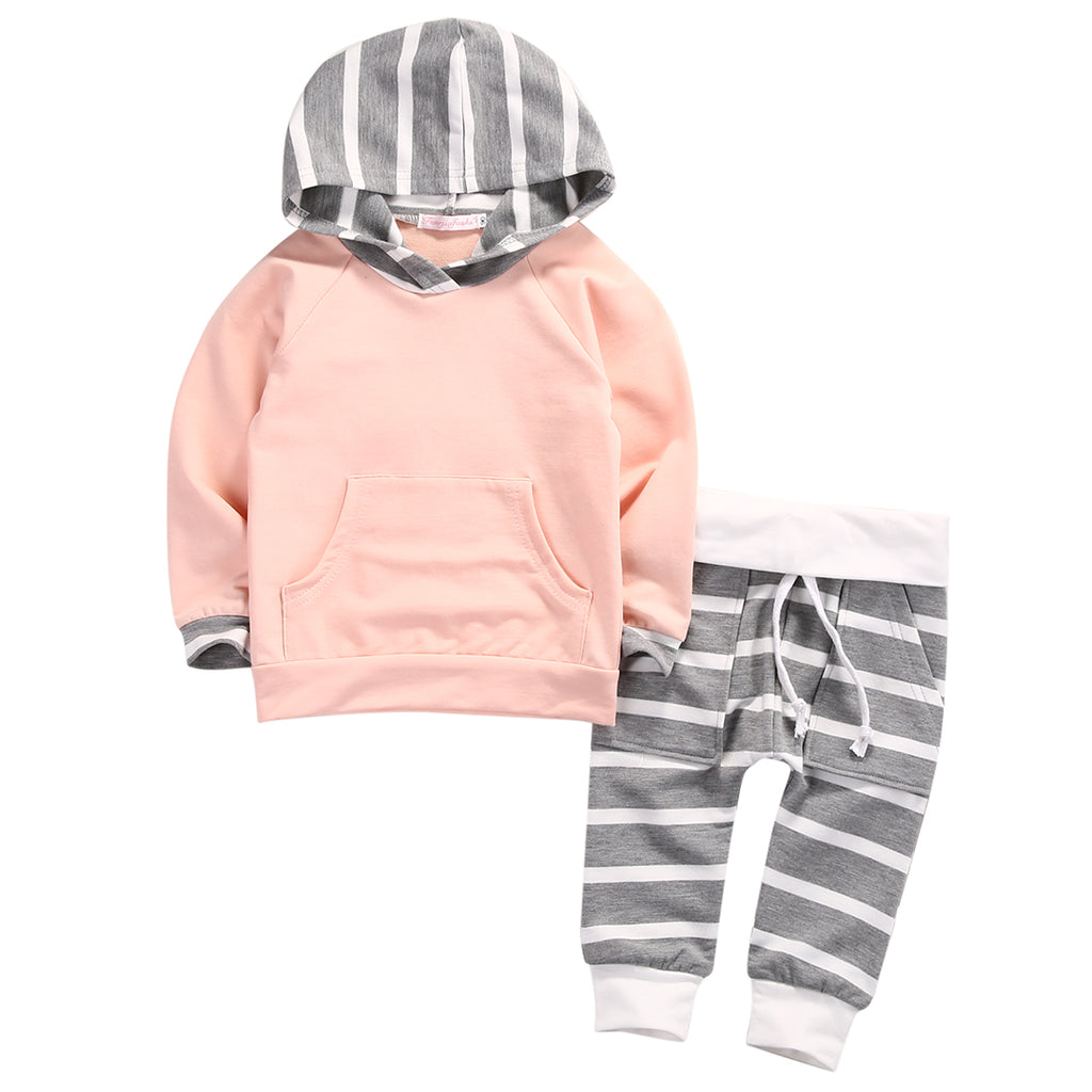 Long Sleeve Hooded T-Shirt Tops & Striped Pant 2Pcs Kids Clothing Set Tracksuit Outfit Baby