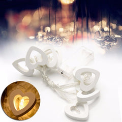 10 Led Warm Wooden Heart Shape String Fairy Lights