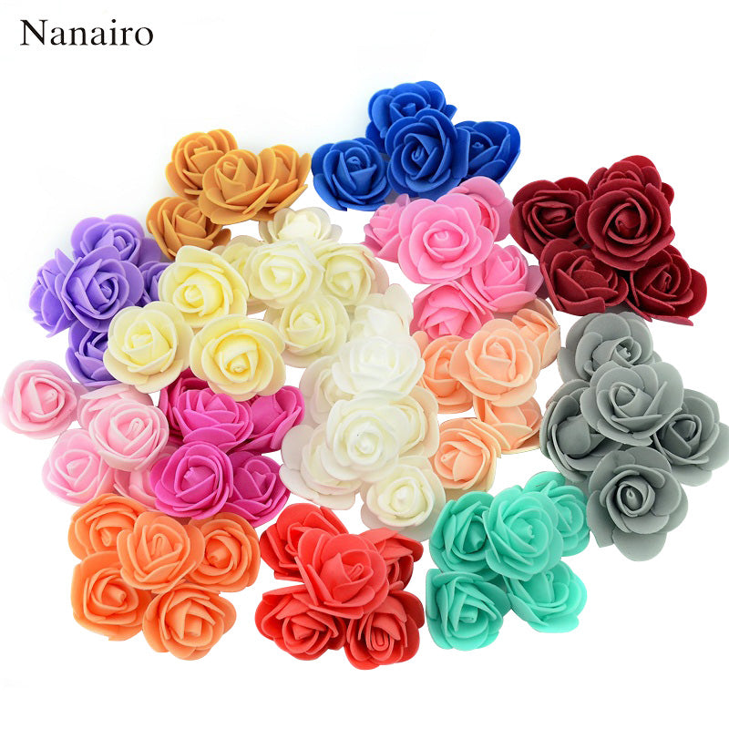 100Pcs/lot Mini Handmade Artificial Foam Flowers Decor