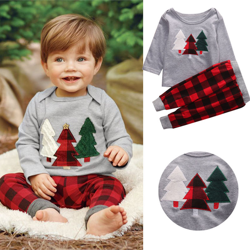 Unisex Toddler Clothes Christmas Tree Top T-Shirt Plaid Pant 2Pcs Kids Outfit