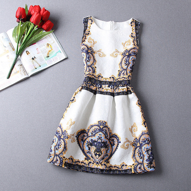 2017 Brand Women Clothing Summer Print Dress Vintage Sexy Party O Neck Slim Dresses Office Ladies Ball Gown Sleeveless Vestidos