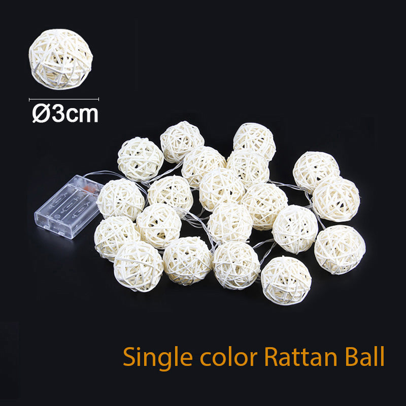 2M Rattan Ball Led String Light Warm White Fairy 3Cm Rattanball /