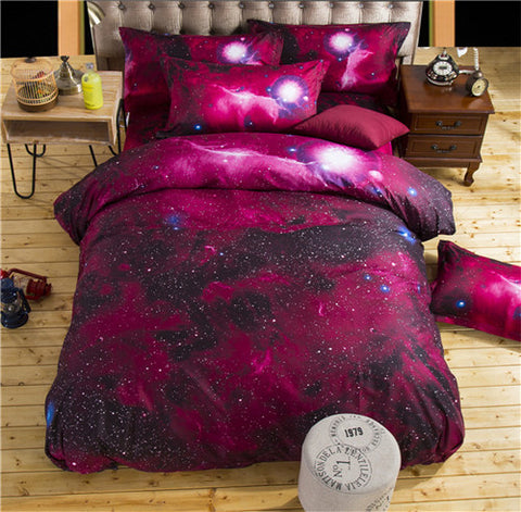3D Galaxy Universe Outer Space Duvet Cover Themed Bed Linen Set