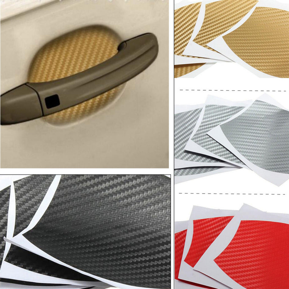 4Pcs/lot Car Handle Protection Carbon Fiber Stickers Universal Auto Accessories