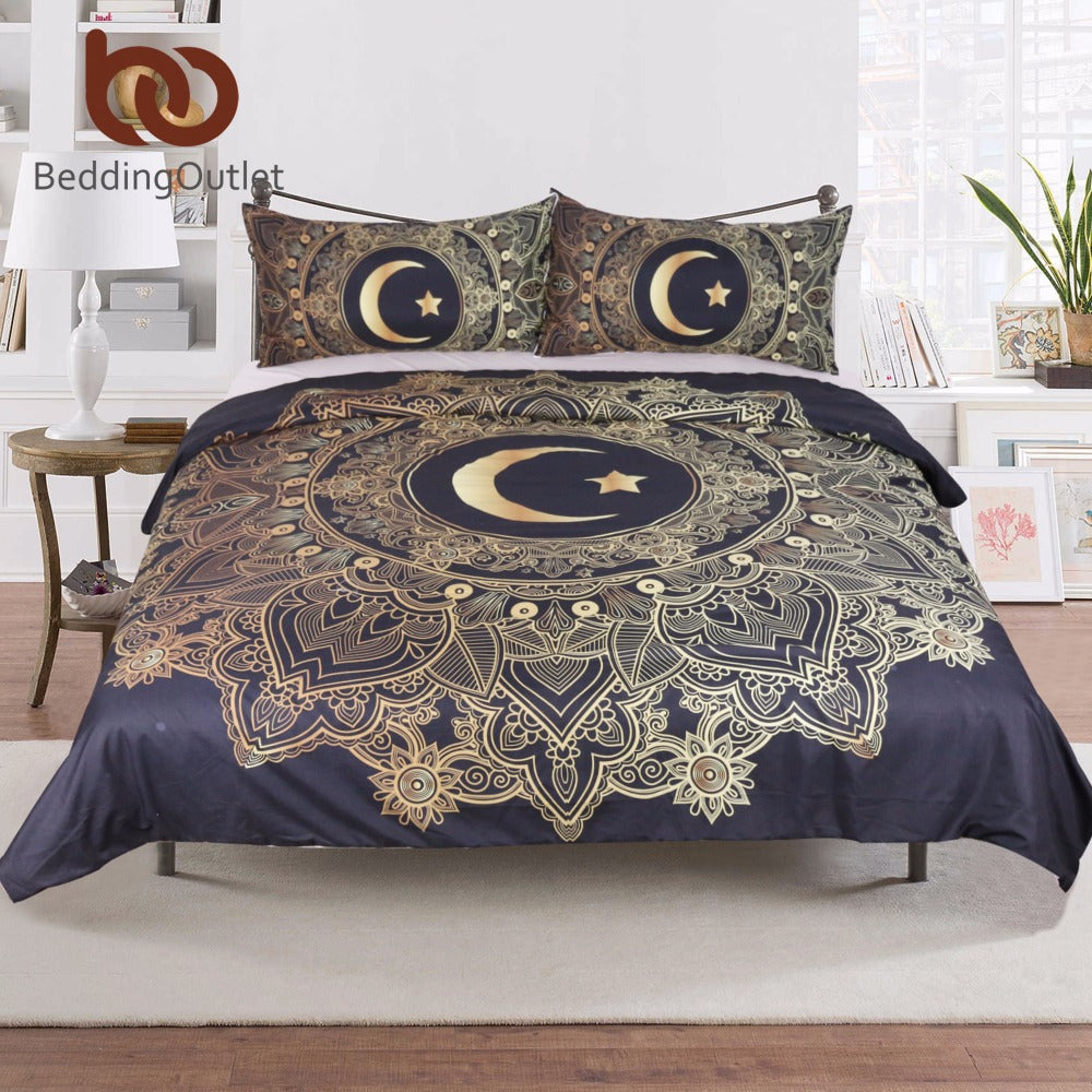 Golden Mandala Flowers Star & Moon Set Bed