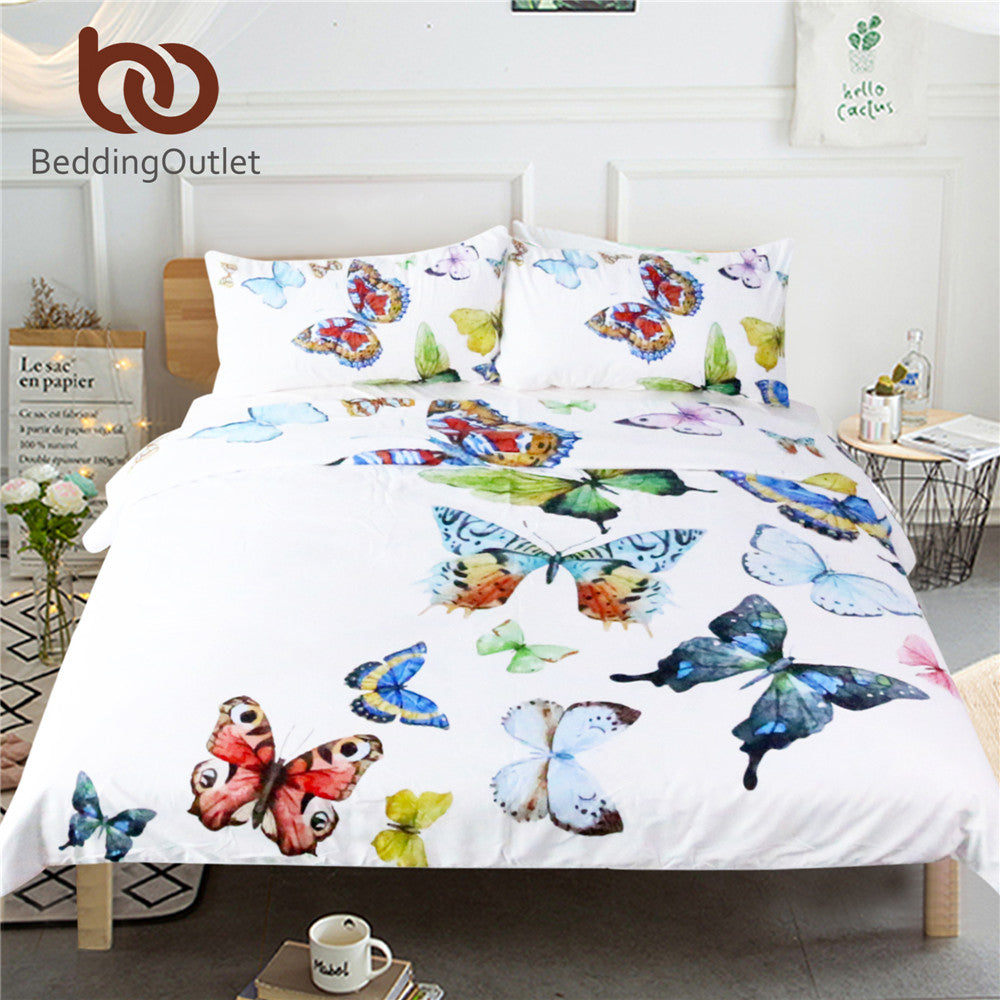 3 Pieces Hypoallergenic Flying Butterflies Bedding Set Bed