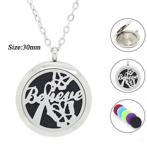 30Mm Believe With Butterflies Silver Stainless Steel Essential Oils Aromatherapy Locket Necklace