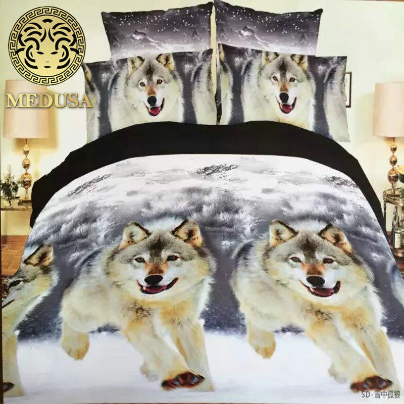 3D Wolf Bedding Set Bed