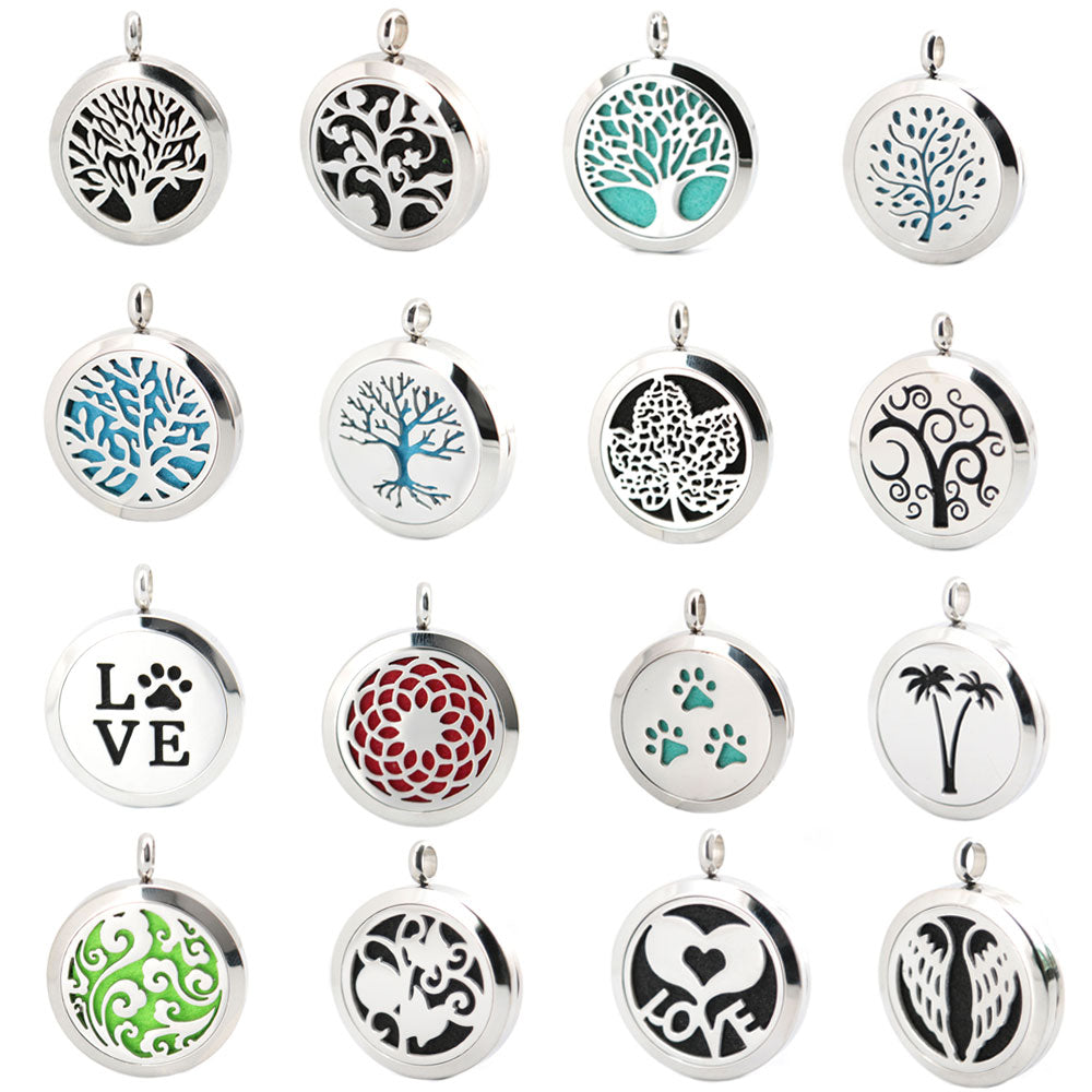 Aromatherapy Essential Oil Stainless Steel Necklace Locket With Chain And Pads
