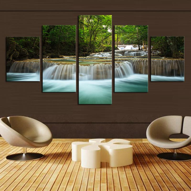 5 Pcs Waterfall Painting Canvas (No Frame) Living Room Decoration Art