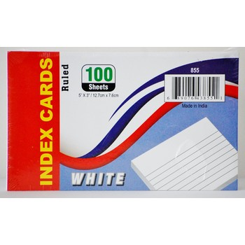 Ruled Index Cards- White 40 Pack Stationary