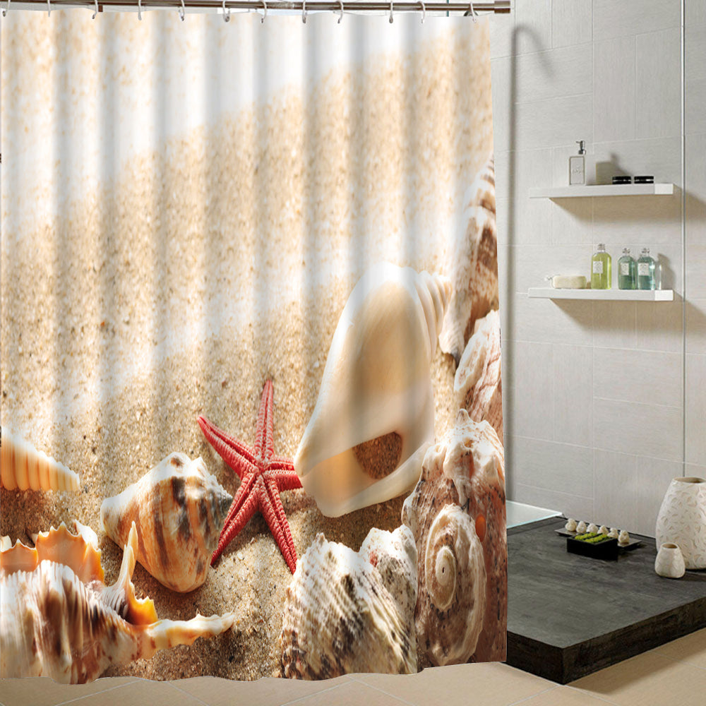 Waterproof Fabric Shower Curtain With 12 Hooks