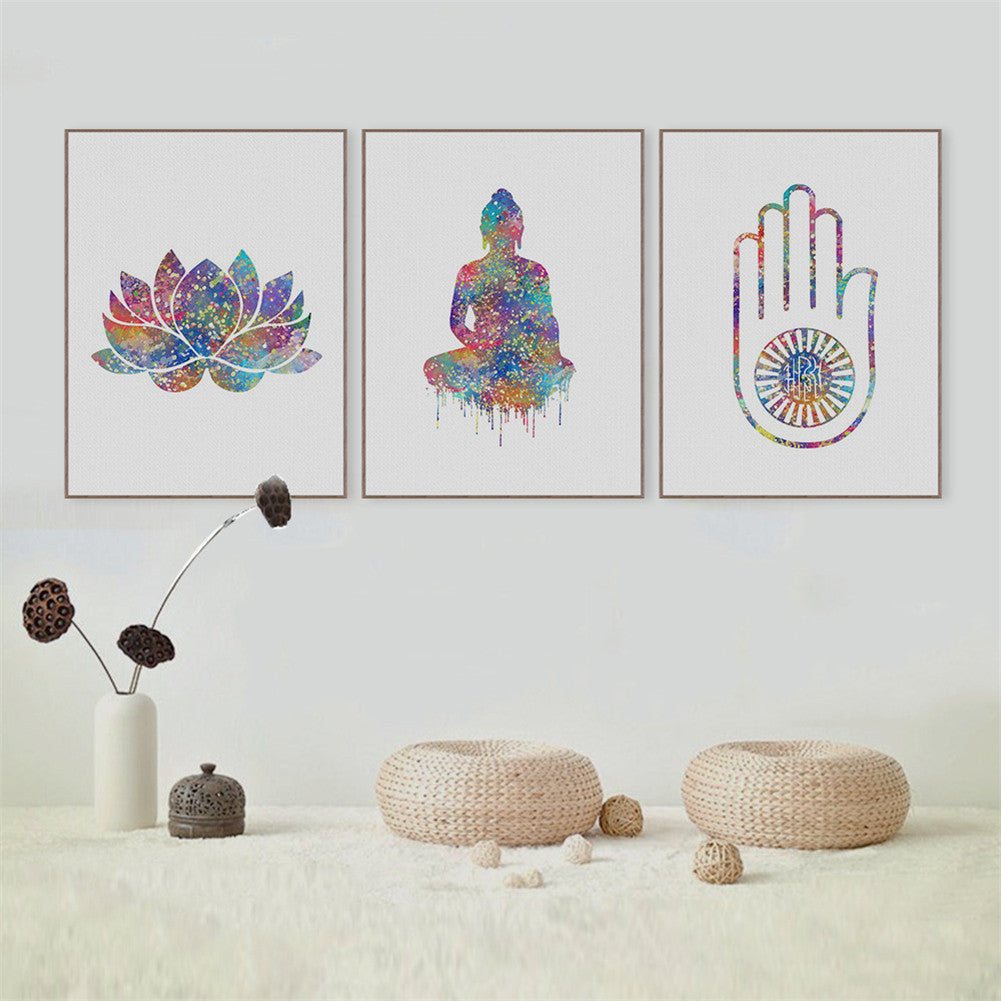 Watercolor Buddha Lotus Unframed Painting Wall Art