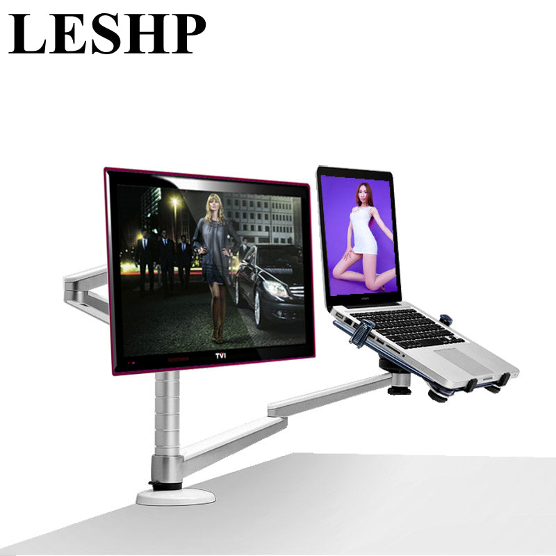 LESHP Multimedia Desktop 25 inch LCD Monitor Holder+ Laptop Stand